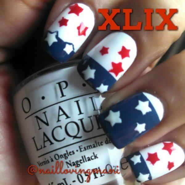 patriots super bowl nail art bmodish