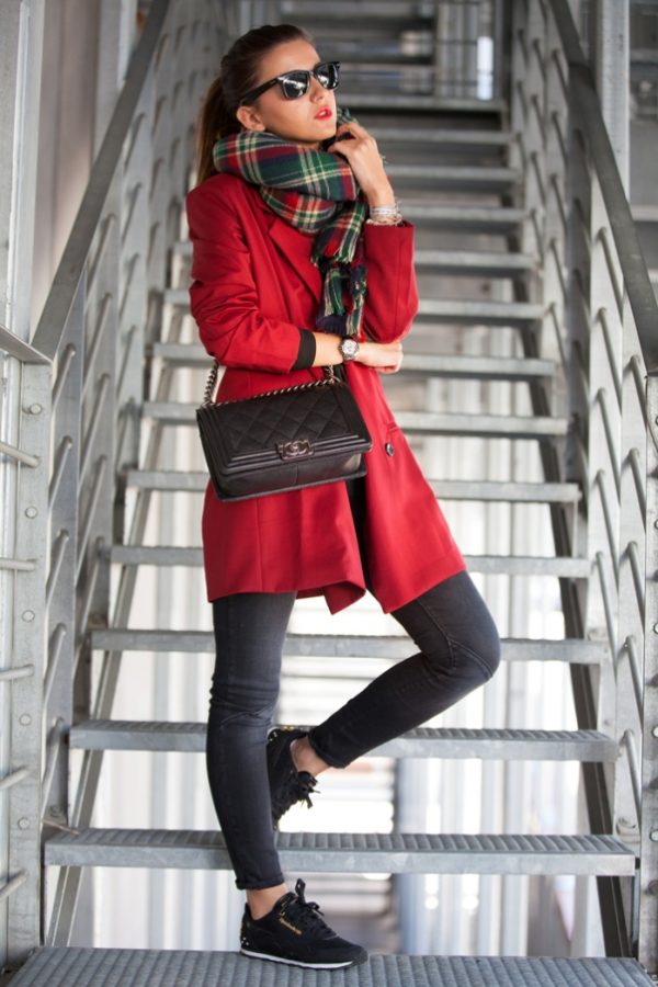 red blazer coat casual fall winter outfit bmodish