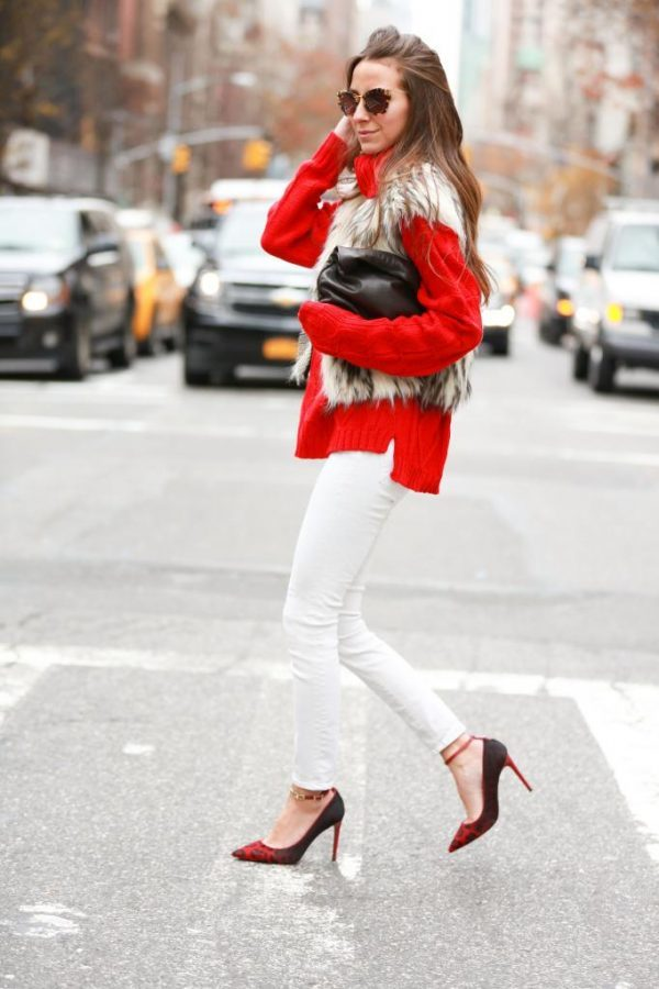 turtleneck sweater with fur vest casual fall outfit