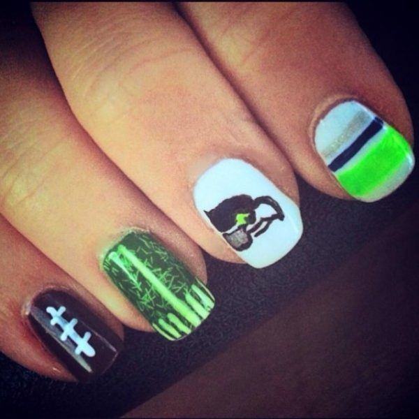 seahawk super bowl nail art bmodish