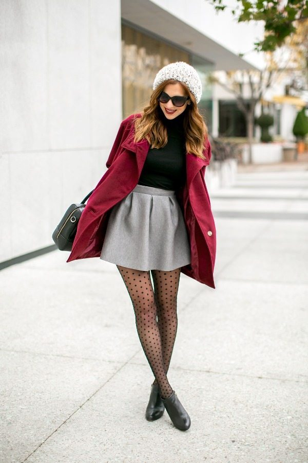 how to wear mini skirt in fall casually