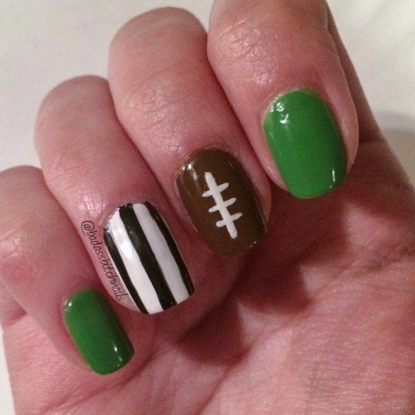 simple football nail art bmodish