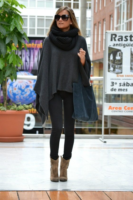 simple poncho cozy fall winter outfit bmodish