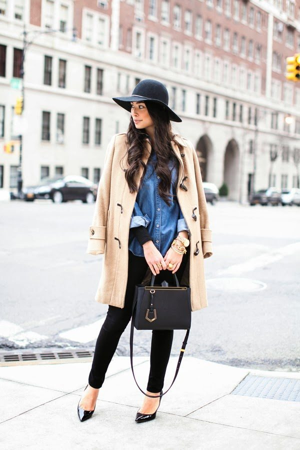 simple winter coat with chambray shirt bmodish