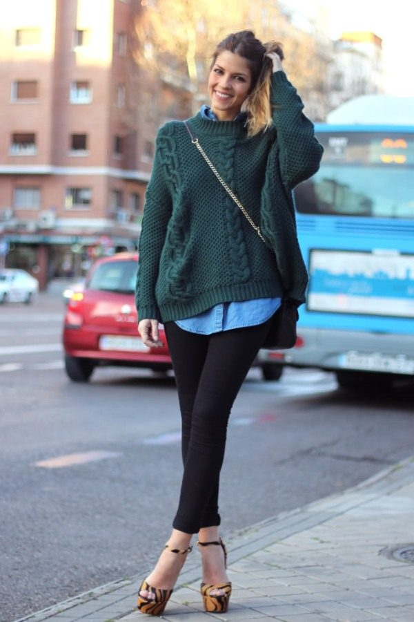 cozy green sweater with chambray shirt fall outfit