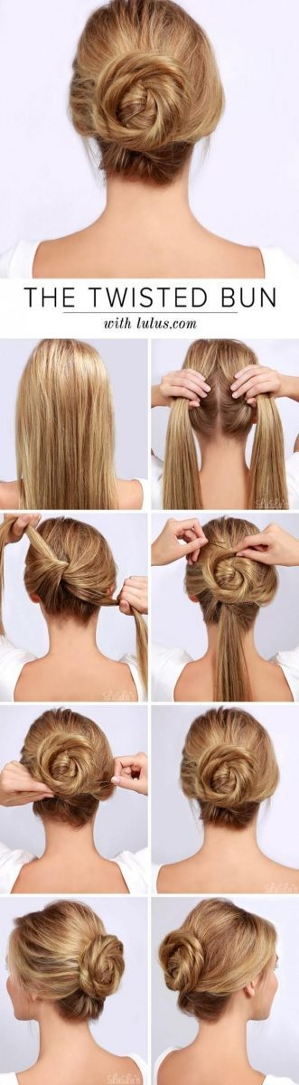 the twisted bun hairstyle via bmodish