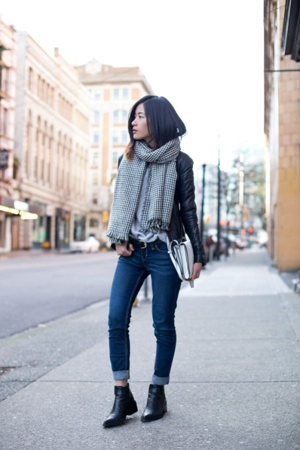 casual fall outfit with biker jacket