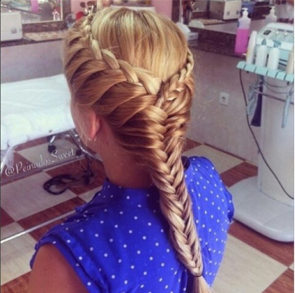 waterfall into fishtail braid hairstyle bmodish