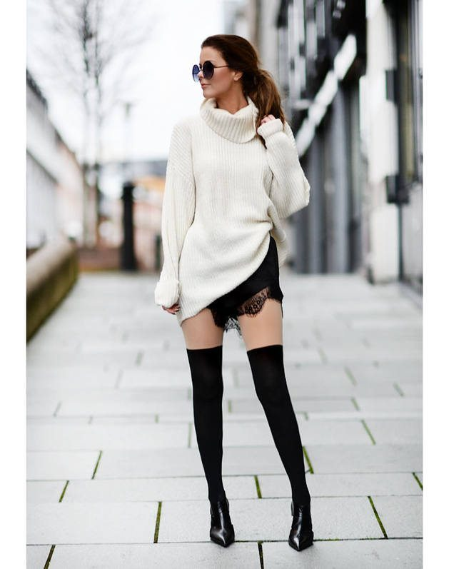white oversize turtleneck sweater bmodish