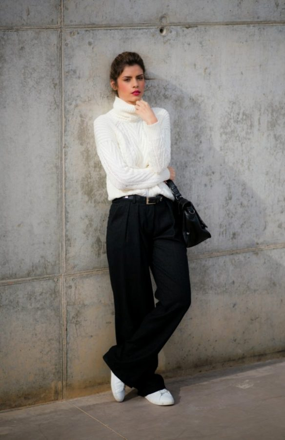 white turtleneck sweater with wide leg trousers