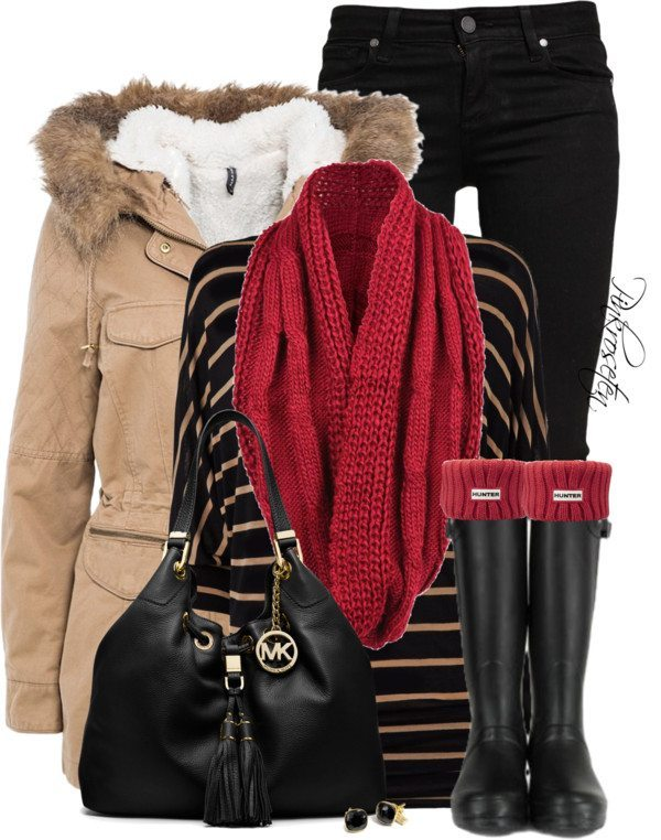 cozy winter outfit idea with hunter boot bmodish