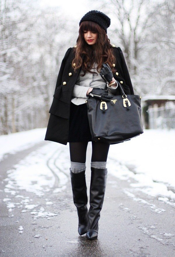 winter outfit with mini skirt bmodish