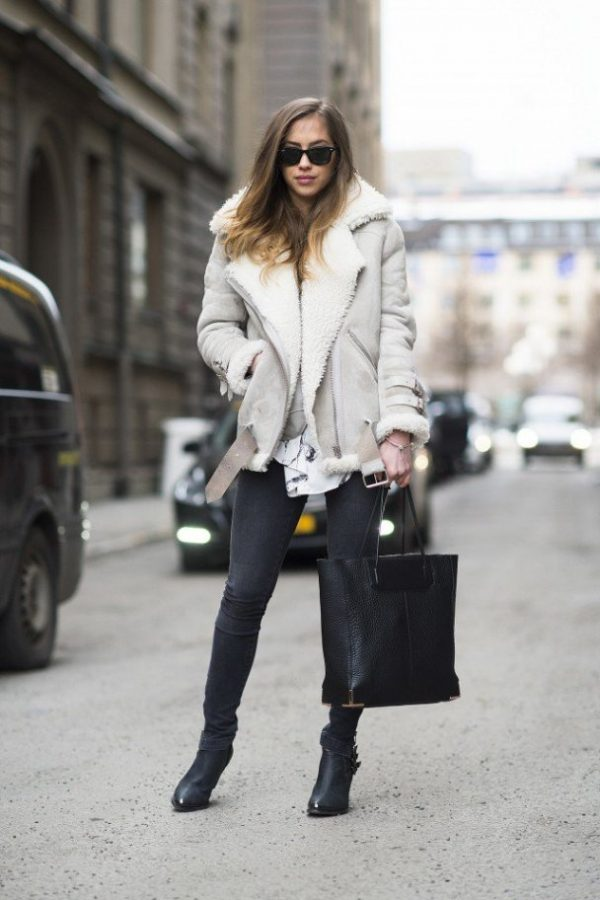 what to wear with shearling jacket outfit