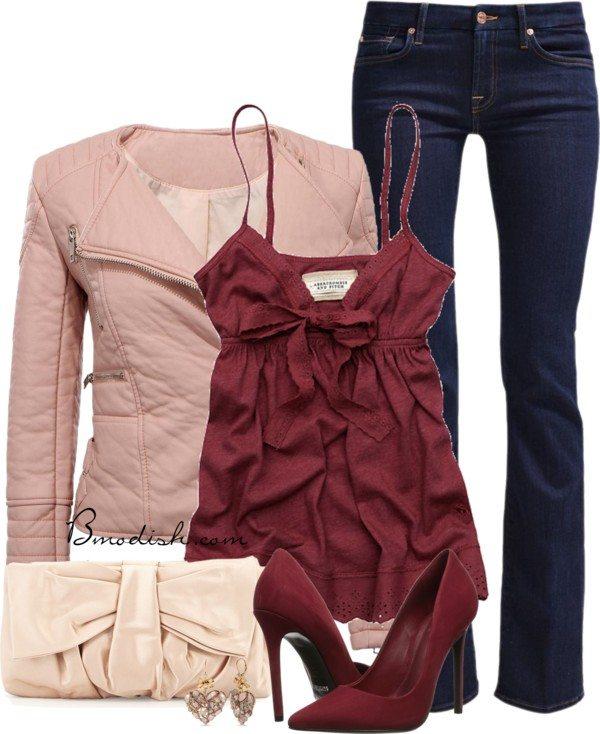 Flirty pink biker jacket valentine outfit bmodish