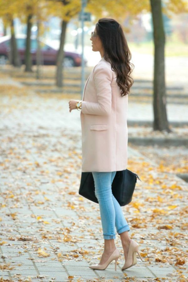 Light Pink Notch Lapel Coat fall outfit bmodish