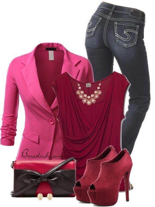 Pink and wine red valentine outfit idea bmodish