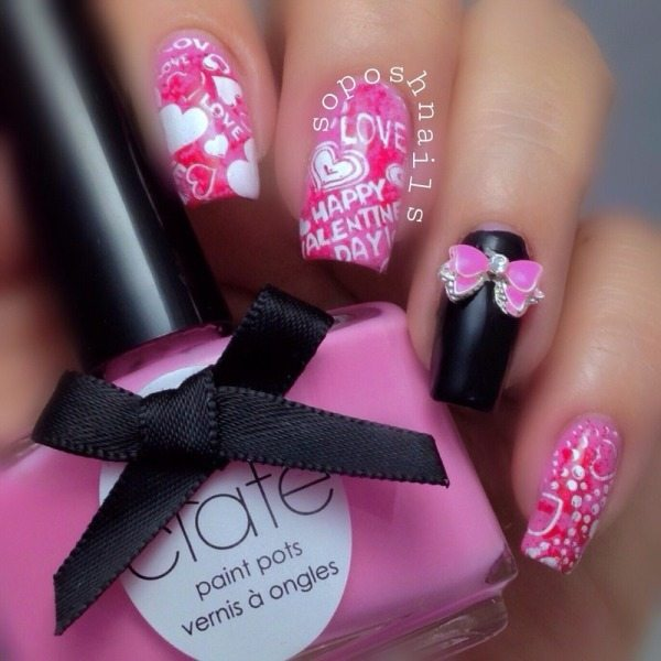 VALENTINE'S HEARTS AND BOW nail designs bmodish