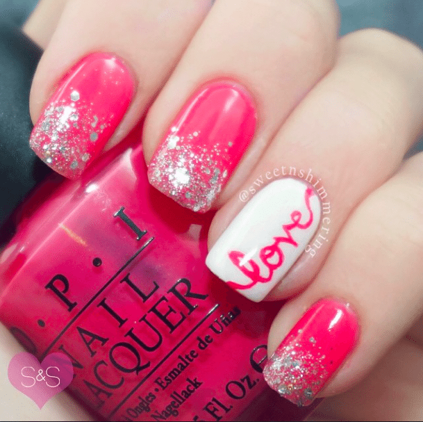 Valentine-Day-Nail-Art-Design via bmodish - 22 Beautiful Valentine Nail Designs To Symbolize Love - Be Modish