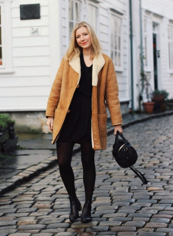 winter shearling jacket trend outfit