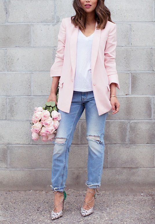 aimee song pink blazer boyfriend jeans bmodish