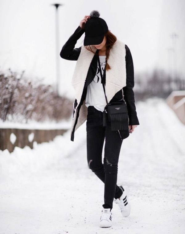 what to wear with black shearling jacket in winter