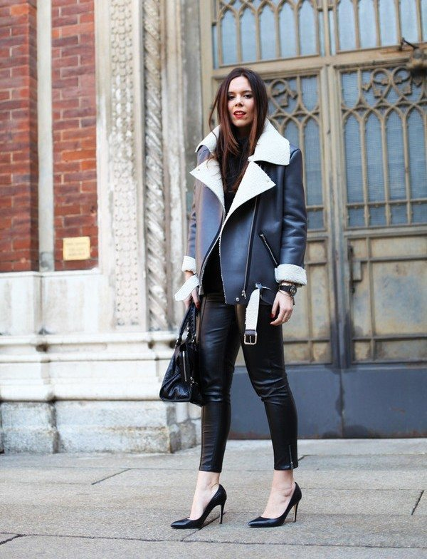 how to wear black leather shearling jacket outfit