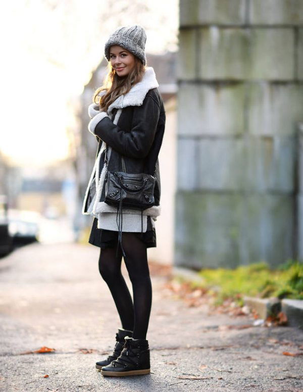 black leather shearling jacket with skirt fall winter outfit bmodish