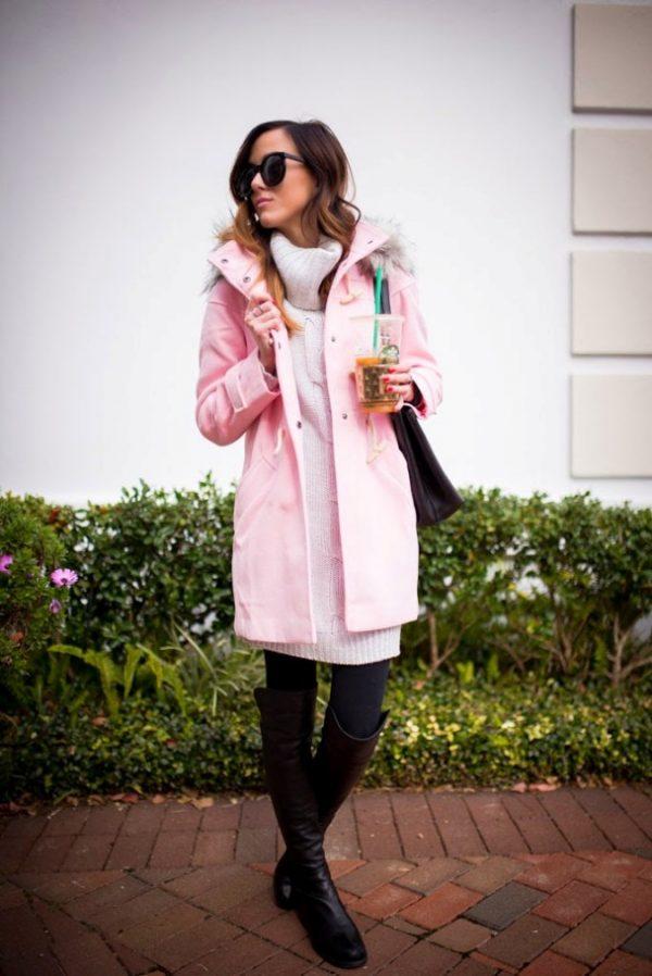 blush pink coat fall winter outfit bmodish