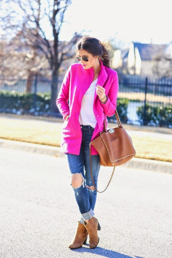 how to wear bright neon pink coat in fall outfit bmodish
