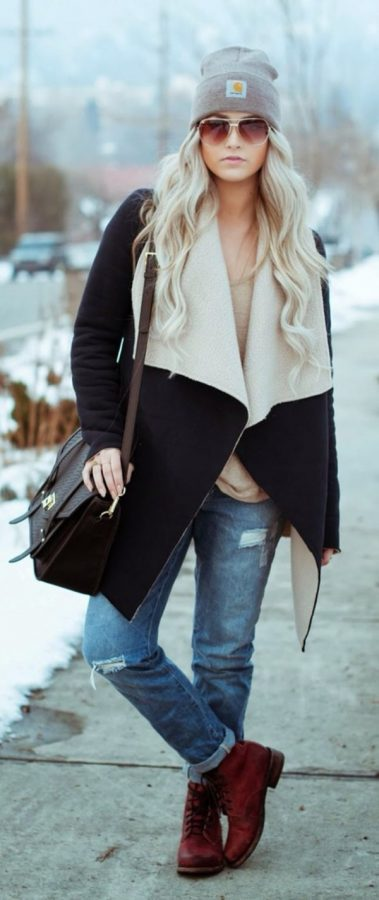 how to wear black shearling jacket casually