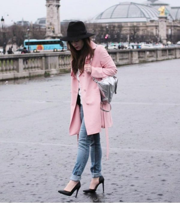 casual pink blackfive coat for fall winter bmodish