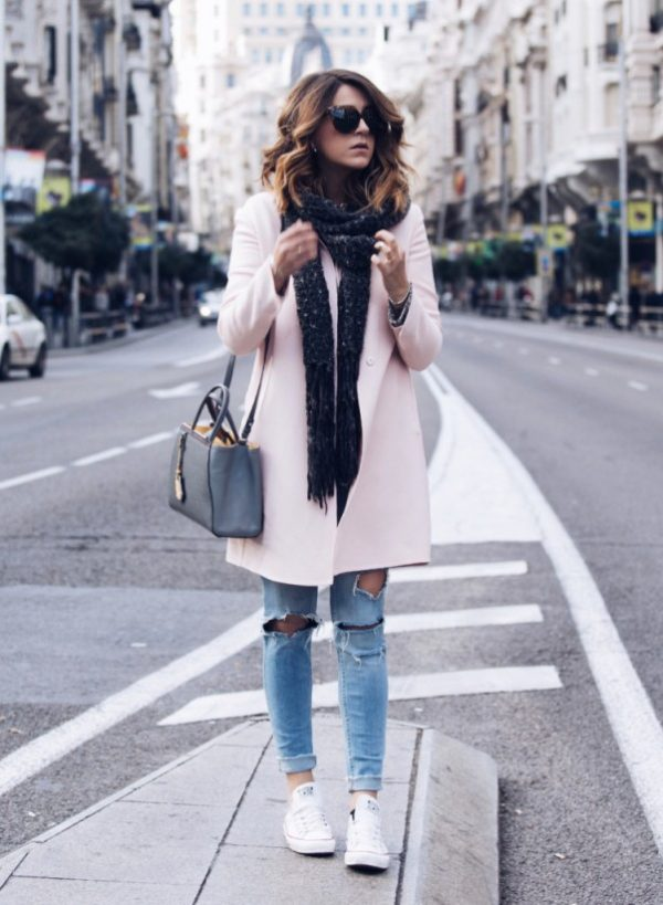 casual pink coat fall winter outfit bmodish