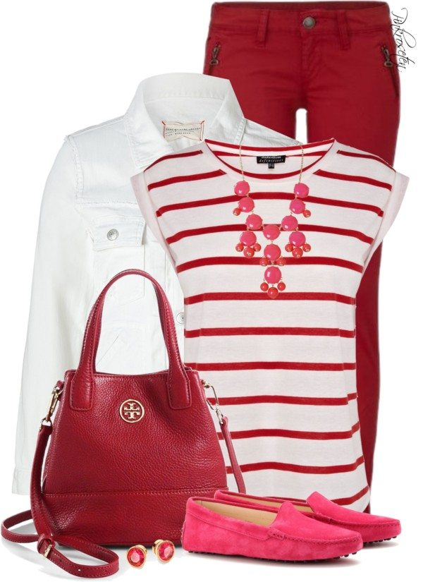 casual red, pink and white outfit for valentines day bmodish