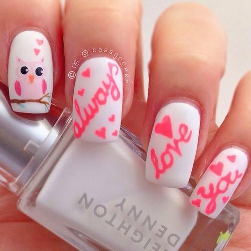 22 beautiful valentine nail designs to symbolize love be modish cute always love you valentine nails bmodish prinsesfo Choice Image