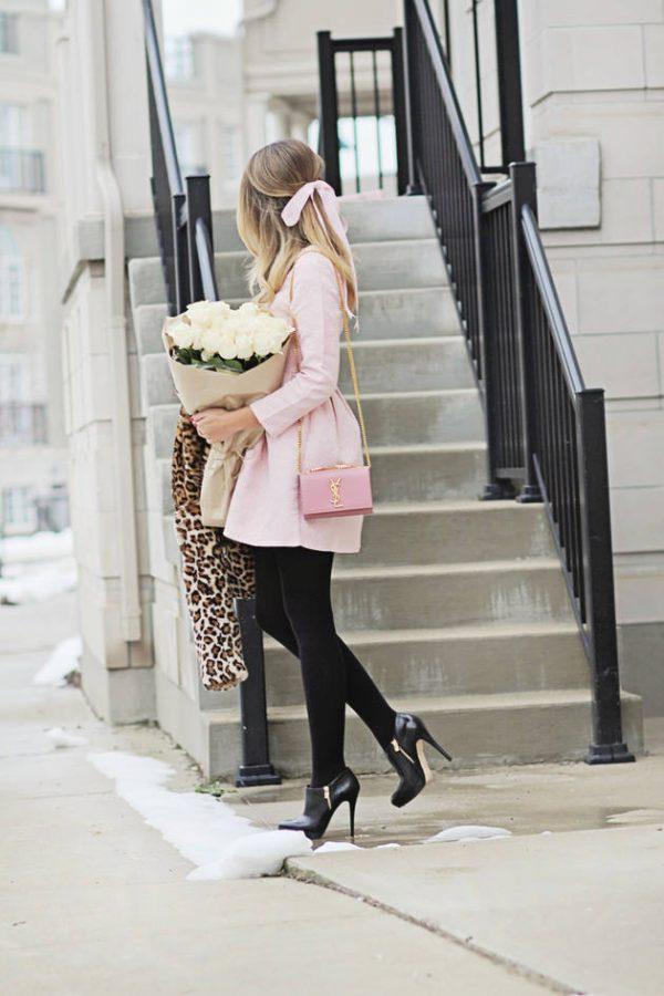 cute pink dress fall outfit bmodish