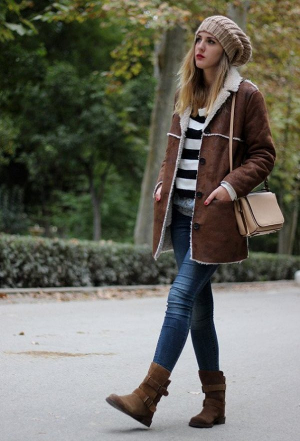 dark brown lamb skin shearling jacket outfit via bmodish