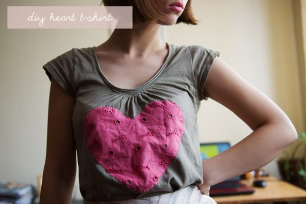 diy heart t shirt via bmodish