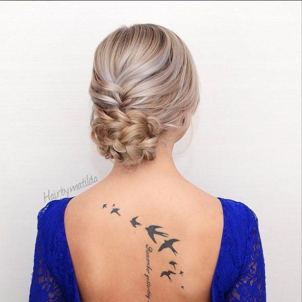 french braid into braided bun hairstyle via bmodish