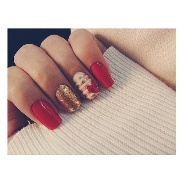 gold and red valentine nail art bmodish