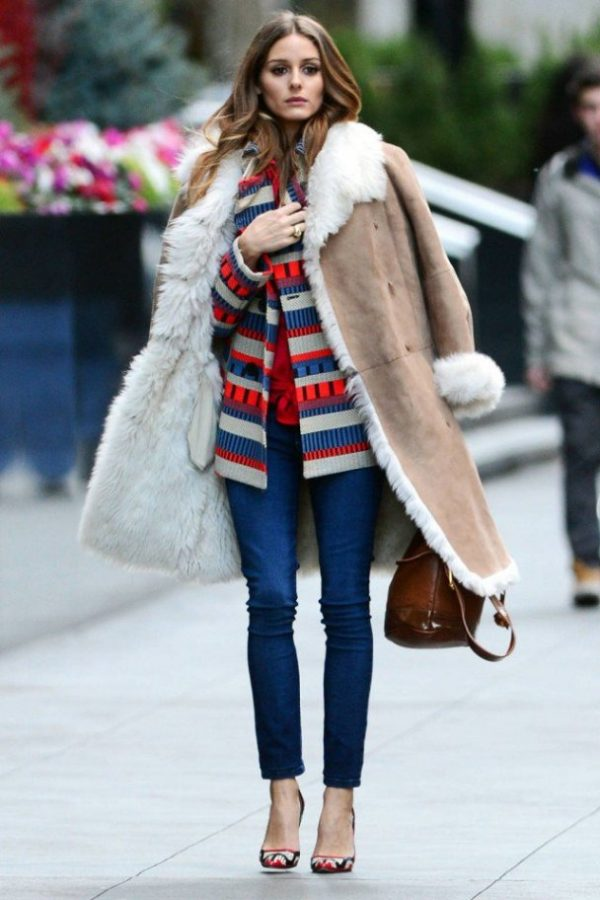 how to wear long shearling coat in winter