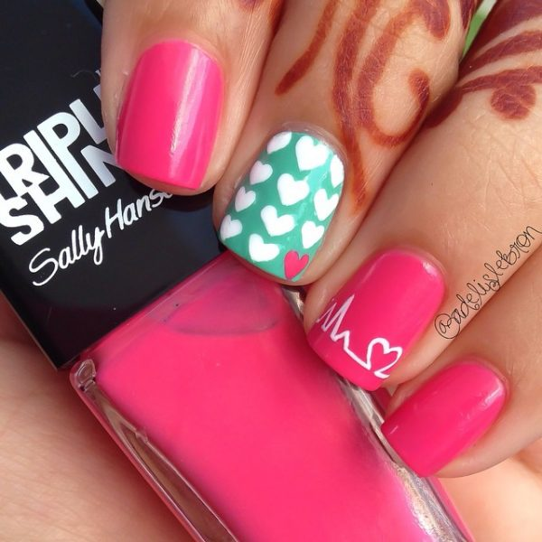 heart beat nailart bmodish