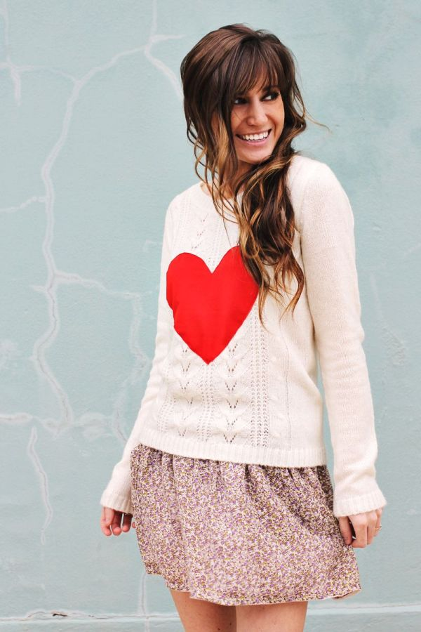 heart patched sweater via bmodish