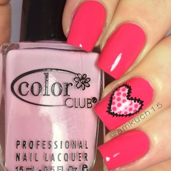 heart stich nailart bmodish