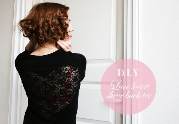lace heart sheer back tshirt diy via bmodish
