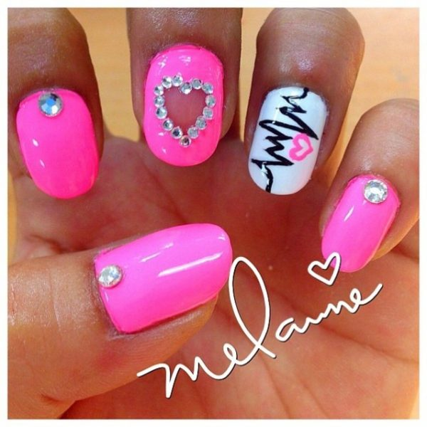 light pink heart nail design bmodish