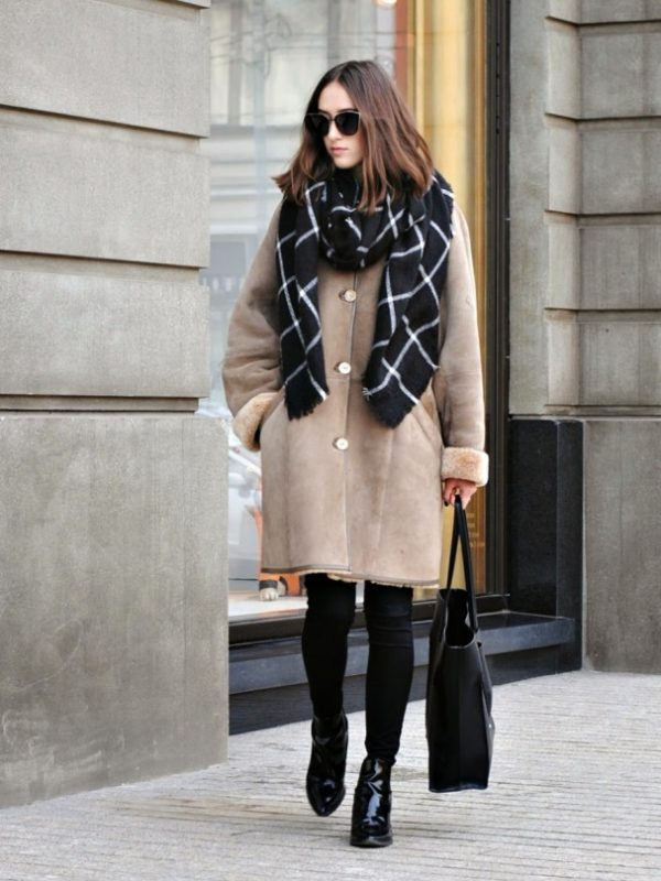how to wear oversize long shearling coat in winter