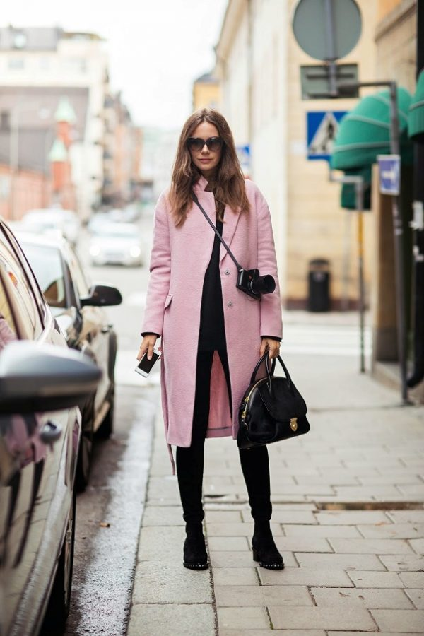 long pink coat for fall and winter bmodish