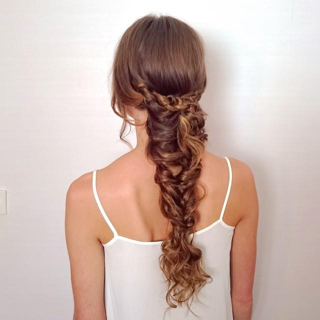 loose chain braid hairstyle for valentines day date