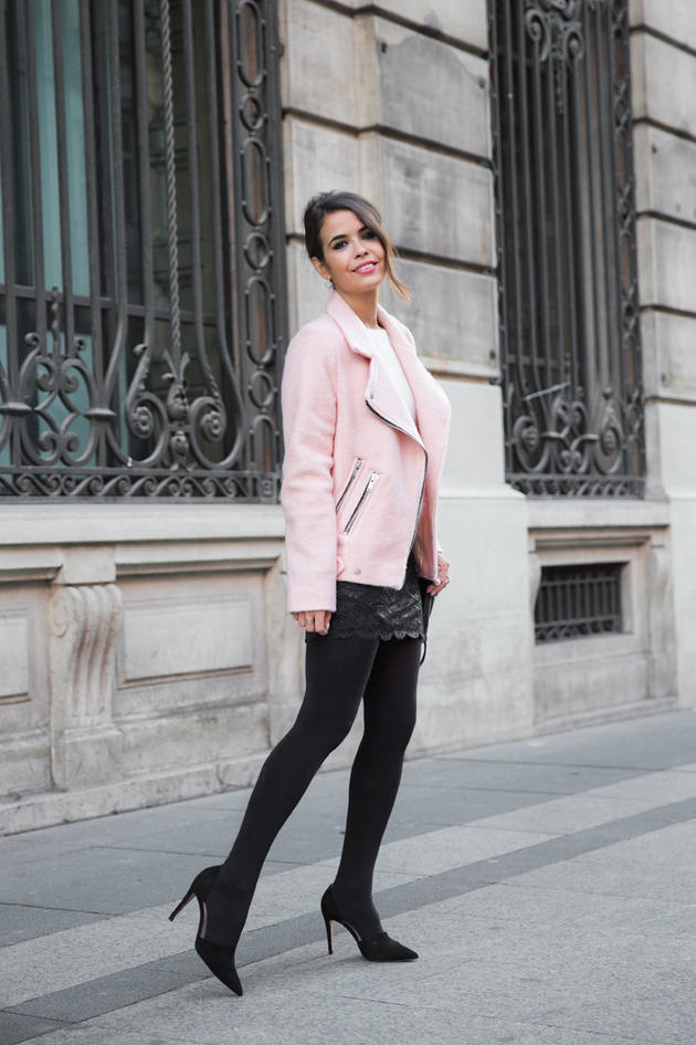 pink biker jacket cute fall outfit bmodish