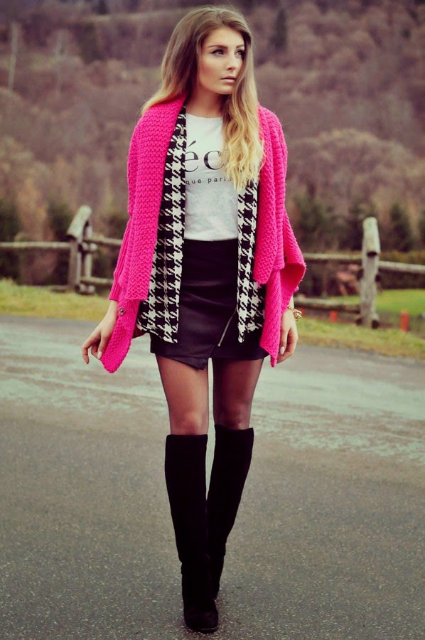 pink cardigan for winter bmodish
